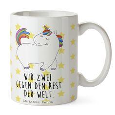 Tasse Einhorn stolzierend aus Keramik  Weiß - Das Original von Mr. & Mrs. Panda.  Eine wunderschöne Keramiktasse aus dem Hause Mr. & Mrs. Panda, liebevoll verziert mit handentworfenen Sprüchen, Motiven und Zeichnungen. Unsere Tassen sind immer ein besonders liebevolles und einzigartiges Geschenk. Jede Tasse wird von Mrs. Panda entworfen und in liebevoller Arbeit in unserer Manufaktur in Norddeutschland gefertigt.    Über unser Motiv Einhorn stolzierend  Das wunderbar niedliche stolzierende…