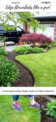 Mar 2020 - Learn how to freshen up flowerbed edges like a pro - part 2 with video! These easy steps using simple tools will leave your garden stunning! Grass Edging, Flower Bed Edging, Lawn Edging, Flower Beds, Garden Edging Tool, Garden Yard Ideas, Lawn And Garden, Garden Beds, Garden Tools