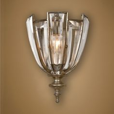 Vicentina 1 Light Crystal Wall Sconce by Uttermost Product Code: Burnished Silver Champagne Leaf And Beveled Crystals, PinMeShop Victorian Wall Sconces, Vintage Wall Sconces, Rustic Wall Sconces, Indoor Wall Sconces, Bathroom Wall Sconces, Wall Sconce Lighting, Uttermost Lighting, Bathroom Lighting, Art Deco Wall Lights