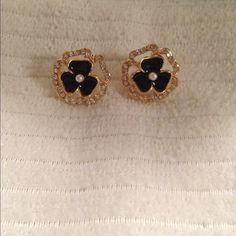 Gold Plated RhineStone Black Flower Stud Earrings Gold Plated RhineStone Black Flower Stud Earrings Jewelry Earrings