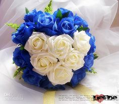 Blue with White Wedding Bouquet. US $33.04. Free Shipping.