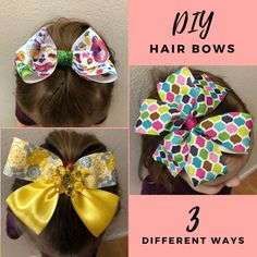 How to Make Hair Bows - 3 Easy Styles Informations About How to Make Hair Bows - 3 Easy Styles Pin Y Big Hair Bows, Ribbon Hair Bows, Making Hair Bows, Ribbon Rose, Easy Hair Bows, Ribbon Flower Tutorial, Hair Bow Tutorial, How To Make Hair, How To Make Bows