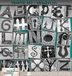 Shadow Art - Alphabet SetIncludes 26 letters A-Z 300 dpi re-sizable PNG filesThis photography incorporated alphabet set is a very popular trend for wall art, and other home crafting. Why not incorporate it into your paper crafts? With a black and white Digital scrapbooking kit available at Design House Digital.   $2.79  by Tia Hoffmann