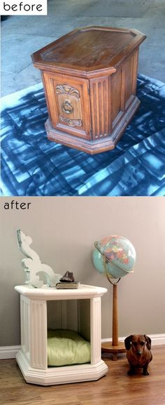 DIY pet bed. This is adorable and smart use of space with the convenience of an end table