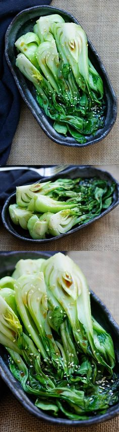 Roasted Bok Choy - easiest vegetable recipe that takes only 10 mins. Healthy and delicious with a soy-sesame dressing, great for dinner   http://rasamalaysia.com #chinesefoodrecipes #PaleoDietingTipsandAdvice