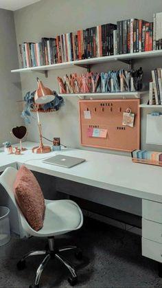 Home Office Bedroom, Room Design Bedroom, Room Ideas Bedroom, Home Room Design, Home Design Decor, Home Office Design, Home Office Decor, Bedroom Decor, Small Room Design