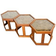 Set of Three Hexagonal Copper Topped End Tables by John Keal | From a unique collection of antique and modern end tables at http://www.1stdibs.com/furniture/tables/end-tables/ $8400.