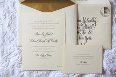 Thick ecru cardstock with painted gold edging and black thermography. Photo courtesy of Elario Photography . Classic Wedding Invitations, Wedding Stationary, Wedding Paper, Wedding Cards, Lenox Massachusetts, William Arthur, Fine Stationery, Painting Edges, Tie The Knots
