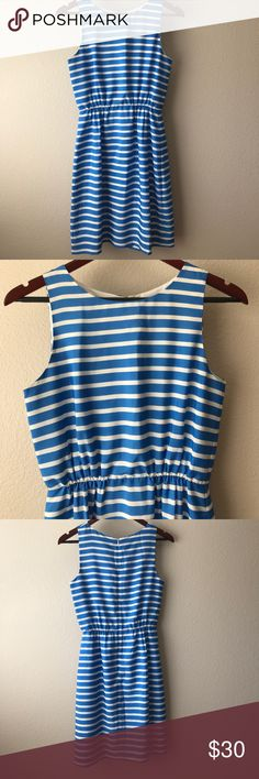 J. Crew Factory Dress Blue and white sleeveless dress from J. Crew Factory. Zips up the back, elastic waist and lined. In excellent condition! 100% polyester J. Crew Dresses