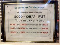 Funny sign at the mechanic's