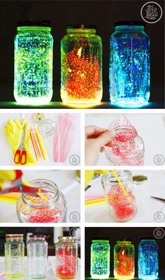glow jars with glow sticks Pot Mason Diy, Diy Mason Jar Lights, Mason Jar Crafts, Mason Jars, Diy Crafts To Sell, Diy Crafts For Kids, Fun Crafts, Arts And Crafts, Glow Stick Jars