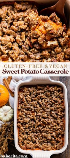 This Vegan Sweet Potato Casserole with Gluten-Free Pecan Crumble recipe is the best sweet potato casserole ever! It's made with fresh yams and coconut sugar for subtle sweetness. #vegan #casserolerecipe Best Sweet Potato Casserole, Sweet Potato Pecan, Mashed Sweet Potatoes, Crumble Recipe, Crumble Topping, Canned Yams, Egg Recipes For Breakfast, Gluten Free Recipes For Dinner, Vegan Thanksgiving