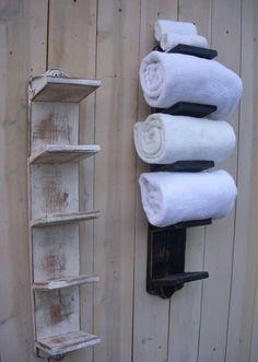 Bath Towel Holder Bathroom Decor Wood Shabby by honeystreasures. $75.00, via Etsy. Would use on a fence for pool towels