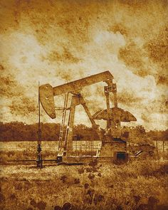 Oil Pump Jack in Sepia Two copyright Ann Powell #photography available as fine art prints #oilfield #oilwell #annpowellart