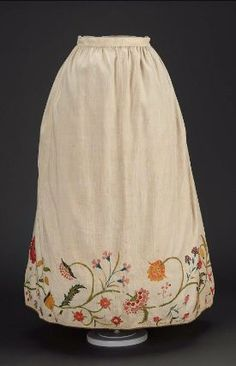 Petticoat. New England, mid 18th century. Linen and cotton with wool embroidery. From the MFA Boston: 50.3175