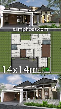One Story House Design Plan Description: -Living room-Office -Buddha room -Kitchen -Dinning Bedrooms -Two bathroom - Roof tile. Tiny House Plans, Modern House Plans, Modern House Design, Modern Architecture House, Architecture Plan, Interior Design Living Room Warm, Bali House, One Story Homes, Sims House