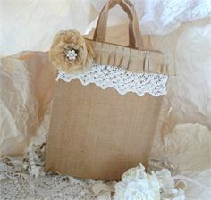 Burlap and lace.. Bag. This makes me happy :)
