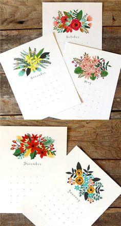 Die schönsten Free Printable Kalender für 2018: Beautiful Floral Calendar von A Piece of Rainbow