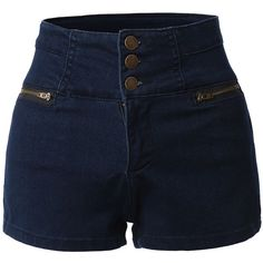 LE3NO Womens High Waisted Sailor Nautical Denim Jean Shorts with... ❤ liked on Polyvore featuring shorts, high waisted nautical shorts, cropped shorts, stretch shorts, high-rise shorts and stretchy shorts