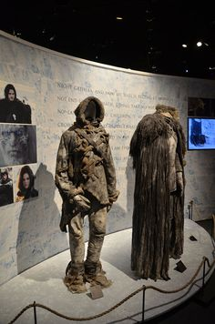 The exhibit displayed costumes for Jon Snow and the wildling, Ygritte.