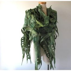 Nuno Felted scarf Green felt scarf Nuno felted stole Green woodland... ($83) ❤ liked on Polyvore featuring accessories, scarves, silk shawl, shawl scarves, pure silk scarves, wool stole and felt scarves