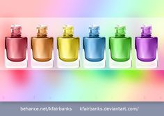 Digital drawing of a Nail Polish bottles. Media: Illustrator. View additional art by K. Fairbanks at http://graphics.ms11.net/index.html  #Art #DigitalArt #Vector