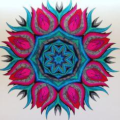 "Colored mandala. Design from: ""Het enige echte mandala kleurboek""."