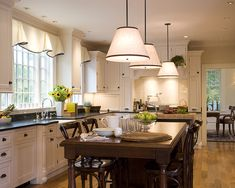 Traditional Kitchen Window Treatments Design, Pictures, Remodel, Decor and Ideas Home Decor Kitchen, Home Kitchens, Kitchen Ideas, Kitchen Photos, Modern Kitchen Lighting, Farmhouse Lighting, Dining Room Curtains, Cafe Curtains, Kitchen Corner