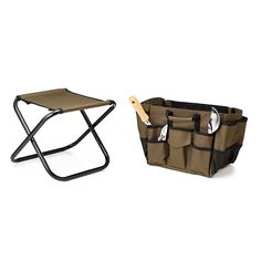 A combination garden work stool, toolbag, and folding chair, this portable seat helps relieve gardeners' knees. An aid for elderly or disabled garden lovers. Folding Chair, Gifts For Family, Unique Gifts, Stool, Simple, Porch, Gardening, Mom, Christmas