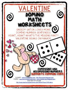 Valentine Domino Math Worksheets! Composing and Decomposin