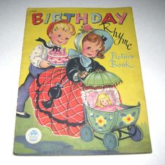 Birthday Rhyme Picture Book Vintage 1940s Over Sized Children's Textured Book by Merrill Publishers. #vintage #birthday #book