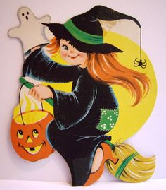 Vtg Diecut Halloween Decoration Cute Girl Witch Window Art Broom Stick Moon Fly