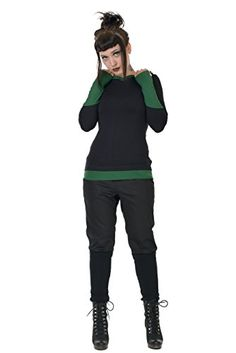 3Elfen Summerhoodie in black with green cuffs Perfectly shaped and smooth is the 3Elfen Sommerhoodie in black. Green cuffs with thumb holes adorn the arm, just ...