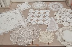 Set of 10 French vintage doilies -handmade crochet lace white or ivory - handmade embroidered doily - crochet lace