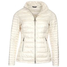Women's Barbour Iona Quilted Jacket - Pearl ($185) ❤ liked on Polyvore featuring outerwear, jackets, zipper jacket, barbour, sporty jacket, white zip jacket and barbour jacket