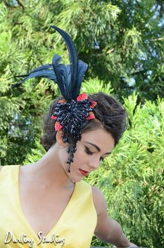 Black Feather Fascinator Hat - with Sequins and Velvet Leaves.