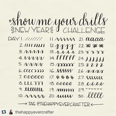 #Repost @thehappyevercrafter with @repostapp. ・・・ Hi everyone!  For the new year, I am excited to announce that I am starting the #showmeyourdrills practice challenge! I myself need to practice these drills as much as anyone else and what better time than the beginning of a new year! At the same time, I would love to share with all of you some short demo videos of each.  Here are all of the prompts to follow for the first 30 days- fill a line, a page, a book, whatever you want! I have…