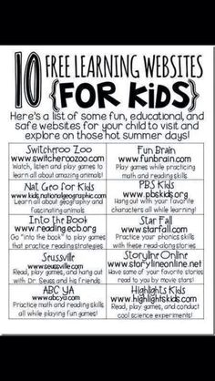 10 FREE Educational websites for kids! Math, reading, geography, and science. SUMMER BRAIN POWER! I Love giving motivating incentives for progress shown over summer break!