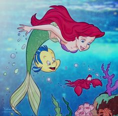 Ariel and Flounder and Sebastian