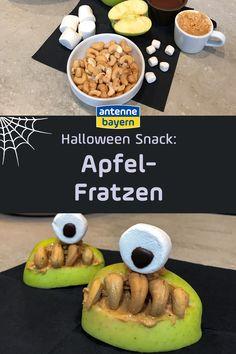 Halloween-Snack: Apfel-Fratzen. Früchte fürs Halloween-Buffet. Grüne Äpfel, Erdnussbutter und Cashewkerne sind die Hauptzutaten für diese Leckerei. Damit wird eure Halloween-Party nicht nur gruselig, sondern auch lecker. Das Rezept zu Halloween gibt es hier und noch viel mehr Ideen und Inspirationen für das Halloween-Fest! Halloween Snacks, Happy Halloween, Halloween Buffet, Halloween Party, Foodblogger, Breakfast, Peanut Butter, Creepy, Treats