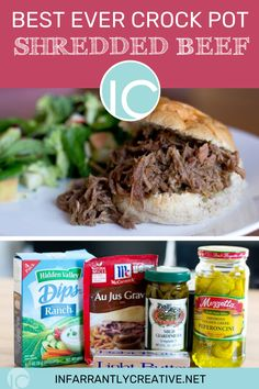 Whenever my family gets together we always do potlucks, pitch-ins, a dish to pass, covered dishes. This crockpot shredded beef recipe is a family favorite or an easy dinner recipe. Veggie Recipes Healthy, Paleo Recipes Easy, Easy Dinner Recipes, Healthy Meals, Yummy Recipes, Crockpot Shredded Beef, Shredded Beef Recipes, Zone Recipes, Easy Dinners For Two