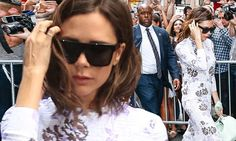 Victoria Beckham wears pretty lilac floral midi dress as she celebrates her successful NYFW show with husband David and son Brooklyn | Daily Mail Online
