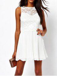 Sexy Round Collar Ruffled Lace Splicing Keyhole Sleeveless White Women's Dress  $16.85