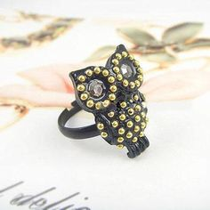 Black Owl Cocktail Ring Black Rings, Cocktail Rings, Women's Accessories, Owl, Cocktails, Design Inspiration, Lady, Stuff To Buy, Jewelry