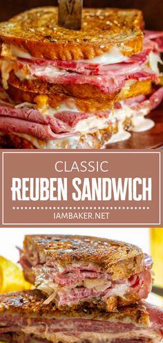 Reuben Sandwich, Soup And Sandwich, Sandwich Recipes, Sandwich Ideas, Corned Beef, Easy Dinner Recipes, Summer Recipes, Simple Recipes, Quick Recipes