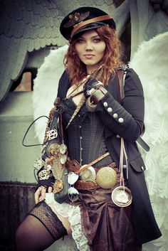 Steampunk its more than an aesthetic style, it's the longing for the past that never was. In Steampunk Girls we display professional pictures, and illustrations of Steampunk, Dieselpunk and other anachronistic 'punks. Some cosplay too! Steampunk Cosplay, Viktorianischer Steampunk, Steampunk Clothing, Steampunk Fashion, Gothic Fashion, Style Fashion, Fashion Ideas, Steampunk Design, Steampunk Wedding
