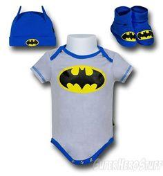 Batman 3pc Grey Costume Newborn Gift Set