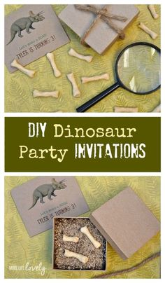 How to make creative dinosaur party invitations! Kids will love digging for dinosaur bones in their unique DIY dinosaur party invitations.