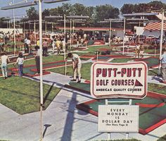 Back when it just golf.not a gigantic building full of video games. We used to get a milkshake and sit on our car and watch people play putt putt. And that was a fun outing. Whoever wrote that👆. is full of shit Those Were The Days, The Good Old Days, Putt Putt Golf, Golf 6, Miniature Golf, Golf Videos, Good Ole, I Remember When, My Memory