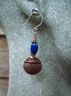 Fold form tribal copper dangle earring with by JanEOjewelry, $18.95